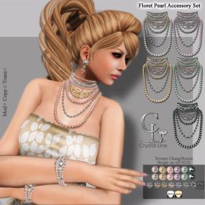 ((Crystal Line))Floret Pearl Accessory Set POP 15%