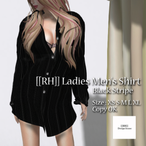 [[RH]] Ladies Men's Shirt (Black Stripe) POP_15%
