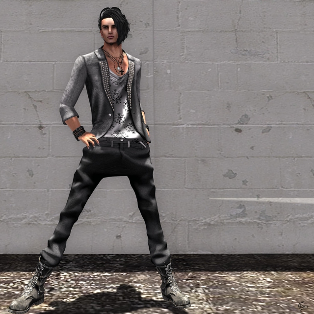 ...Scars... 1B Tailored Jacket [Leather]&low waist  pants [Black]