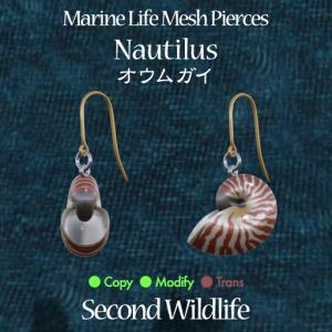 Second Wildlife - Marine Life Mesh Pierces 'NAUTILUS'  - 100% Dugong Janus