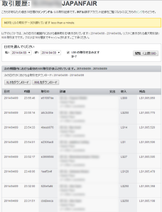 Transaction History of Japanfair account_0409_1