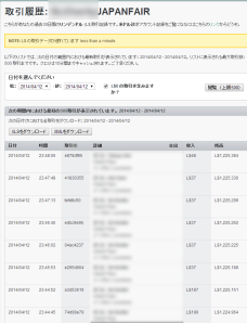 Transaction History of Japanfair account_0412_1