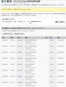 Transaction History of Japanfair account_0413_1