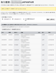Transaction History of Japanfair account_0419_1